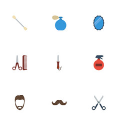 flat icons cotton buds hairstylist shears and vector image