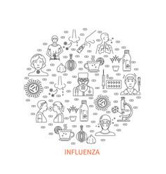 Flu prevention round banner vector