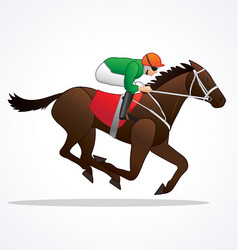 Galloping race horse with jockey vector