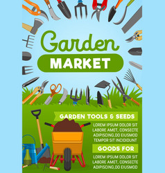 Gardening tool banner with agriculture equipment vector