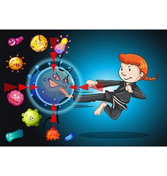 Girl fighting with bacteria vector