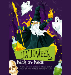 Halloween holiday greeting poster with evil wizard vector