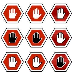 Hand octagon stop symbols vector