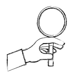 Hand taking magnifying glass vector