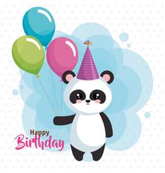 Happy birthday card with bear panda vector