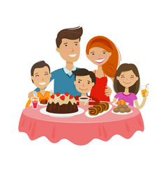 happy family at table celebration tableful vector image