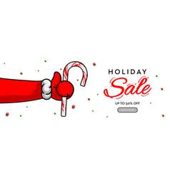 Holiday sale horizontal banner santas claus hand vector