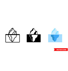 iceberg icon 3 types isolated sign vector image
