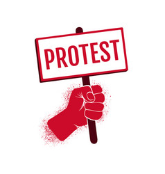 Icon hand holding a poster protest vector