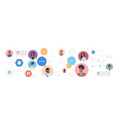 Indian men women avatars with chat bubble speech vector