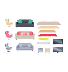 interior set of sofas carpets vector image