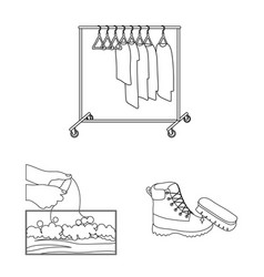 isolated object of laundry and clean logo set of vector image