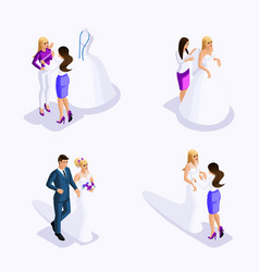 isometric man and woman preparing for wedding vector image