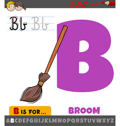 Letter b from alphabet with cartoon broom object vector