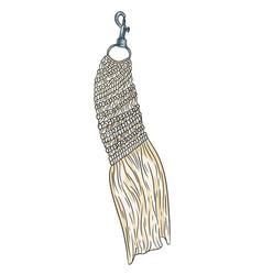 Macrame boho style keychain textile knotting vector
