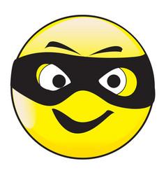 masked smile face button emoticon vector image