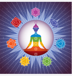 Meditating yoga girl silhouette with chakras signs vector