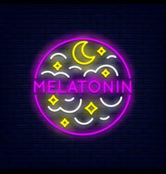 Melatonin neon banner vector