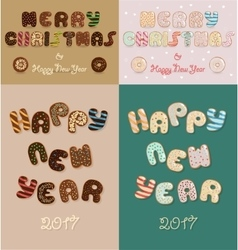 Merry Christmas New Year 2017 Chocolate donuts vector