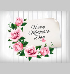mothers day background with a pink roses and vector image