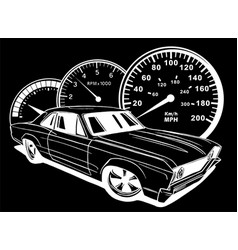 Muscel car in black background vector