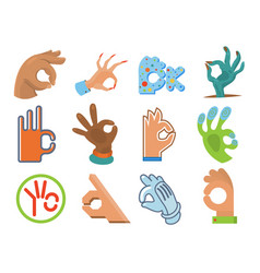 Ok hand human sign okey yes agreement signal vector