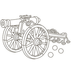 old pirate gun with cannonballs vector image