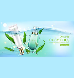 organic eco cosmetics product tubes ad banner vector image