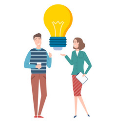 people discussing create idea light bulb vector image