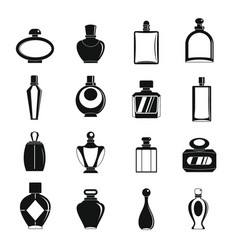 Perfume bottles icons set simple style vector