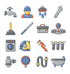 Plumber symbols icons set cartoon style vector