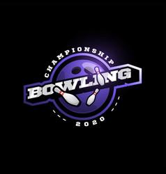 purple bowling logo modern professional vector image
