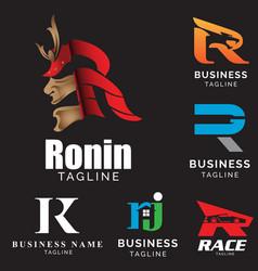r letter based theme logo set volume 2 vector image