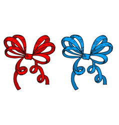 red and blue ribbon bows hand drawn sketch vector image