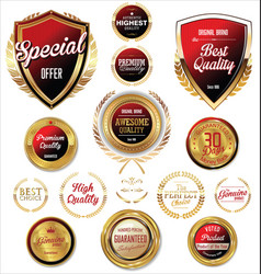 red and gold quality badges and labels vector image
