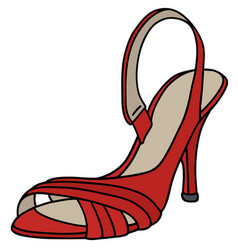 Red tape shoe on high heel vector