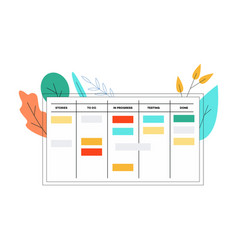 Scrum board in flat style vector