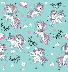 Seamless pattern with cute unicorns isolated on vector