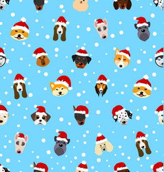 Seamless pattern with different breeds of dogs vector