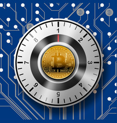 security of the safe with golden bitcoin on vector image