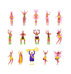 set characters rio carnival king wearing crown vector image
