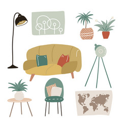 set cool interior design house furniture vector image