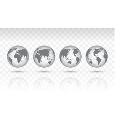 set of transparent icon globes of earth vector image