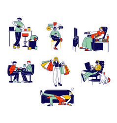 Set people with bad habits smoking alcohol vector