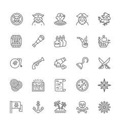 set pirates line icons sailor boatswain vector image