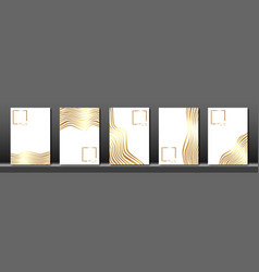 Set white cover for text abstract gold wave strips vector