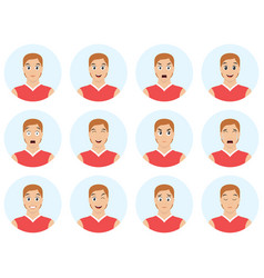 Set young handsome man emoticons man avatars vector
