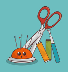 Sewing elements funny characters vector