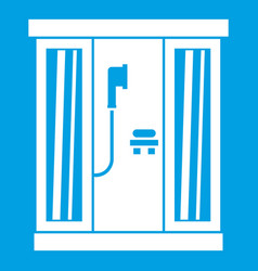 Shower cabin icon white vector