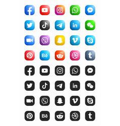 Social media modern ios 3d icons set vector